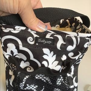 Thirty one small utility tote black and whit
